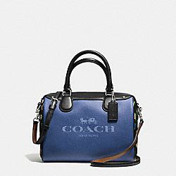 MINI BENNETT SATCHEL IN DENIM WITH HORSE AND CARRIAGE - f57533 - SILVER/DENIM BLACK MULTI