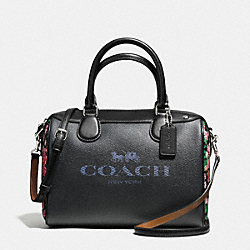 COACH MINI BENNETT SATCHEL IN DENIM WITH HORSE AND CARRIAGE - SILVER/DARK DENIM PINK MULTI - F57533