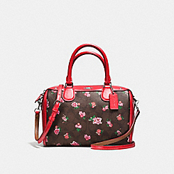 MINI BENNETT SATCHEL IN FLORAL LOGO PRINT COATED CANVAS - f57534 - SILVER/BROWN RED MULTI