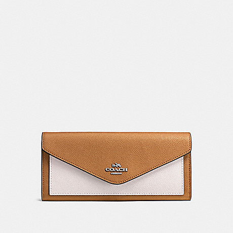 COACH SOFT WALLET IN COLORBLOCK - LIGHT SADDLE CHALK/SILVER - F57536