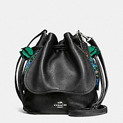 PETAL BAG IN PEBBLE LEATHER - f57543 - SILVER/BLACK