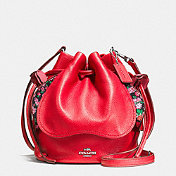 PETAL BAG IN PEBBLE LEATHER - f57543 - SILVER/BRIGHT RED