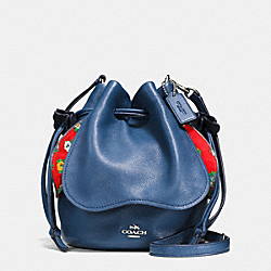 PETAL BAG IN PEBBLE LEATHER - f57543 - SILVER/MARINA