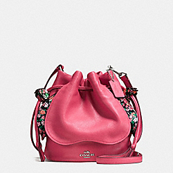 PETAL BAG IN PEBBLE LEATHER - f57543 - SILVER/STRAWBERRY
