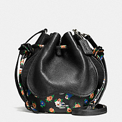 PETAL BAG IN LEATHER FLORAL MIX - f57544 - SILVER/BLACK MULTI