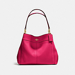 LEXY SHOULDER BAG IN PEBBLE LEATHER - f57545 - IMITATION GOLD/BRIGHT PINK