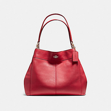 COACH f57545 LEXY SHOULDER BAG IN PEBBLE LEATHER LIGHT GOLD/TRUE RED