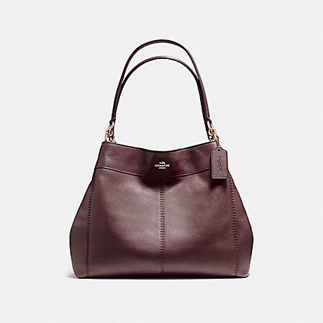 COACH LEXY SHOULDER BAG IN PEBBLE LEATHER - LIGHT GOLD/OXBLOOD 1 - f57545
