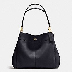 LEXY SHOULDER BAG IN PEBBLE LEATHER - f57545 - IMITATION GOLD/MIDNIGHT