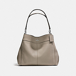 LEXY SHOULDER BAG IN PEBBLE LEATHER - f57545 - SILVER/FOG