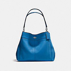 LEXY SHOULDER BAG IN PEBBLE LEATHER - f57545 - SILVER/LAPIS