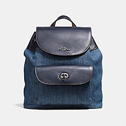 COACH MINI BILLIE BACKPACK IN DENIM AND LEATHER - ANTIQUE SILVER/DENIM - F57547