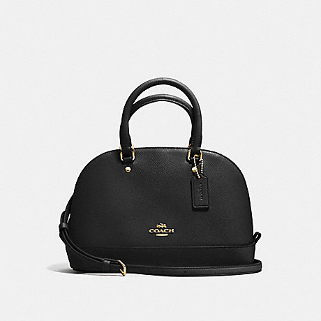 COACH MINI SIERRA SATCHEL IN CROSSGRAIN LEATHER - IMITATION GOLD/BLACK - f57555