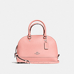 COACH MINI SIERRA SATCHEL IN CROSSGRAIN LEATHER - SILVER/BLUSH - F57555
