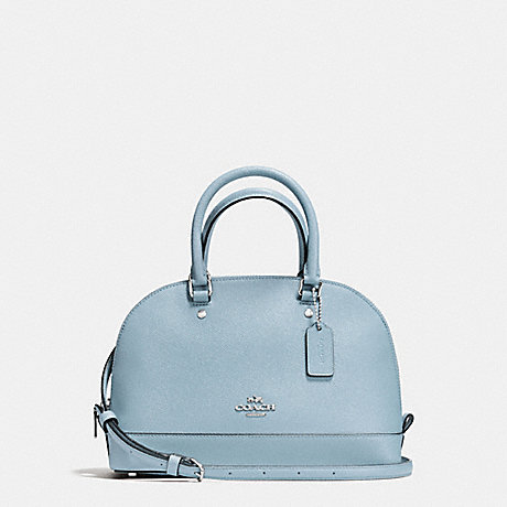 COACH MINI SIERRA SATCHEL IN CROSSGRAIN LEATHER - SILVER/CORNFLOWER - f57555