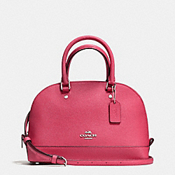 MINI SIERRA SATCHEL IN CROSSGRAIN LEATHER - f57555 - SILVER/STRAWBERRY