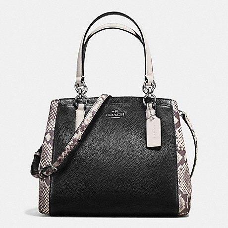 COACH f57557 MINETTA CROSSBODY WITH SNAKE EMBOSSED LEATHER TRIM ANTIQUE NICKEL/BLACK MULTI