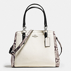 MINETTA CROSSBODY WITH SNAKE EMBOSSED LEATHER TRIM - f57557 - SILVER/CHALK MULTI