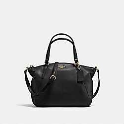 MINI KELSEY SATCHEL IN PEBBLE LEATHER - f57563 - IMITATION GOLD/BLACK