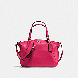MINI KELSEY SATCHEL IN PEBBLE LEATHER - f57563 - IMITATION GOLD/BRIGHT PINK