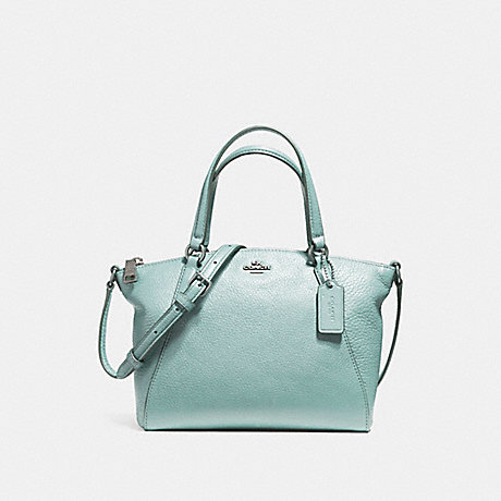 COACH f57563 MINI KELSEY SATCHEL IN PEBBLE LEATHER SILVER/AQUA