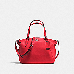 MINI KELSEY SATCHEL IN PEBBLE LEATHER - F57563 - SILVER/BRIGHT RED