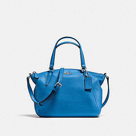 COACH MINI KELSEY SATCHEL IN PEBBLE LEATHER - SILVER/LAPIS - f57563