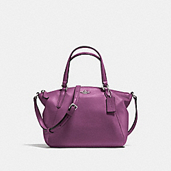 MINI KELSEY SATCHEL IN PEBBLE LEATHER - F57563 - SILVER/MAUVE