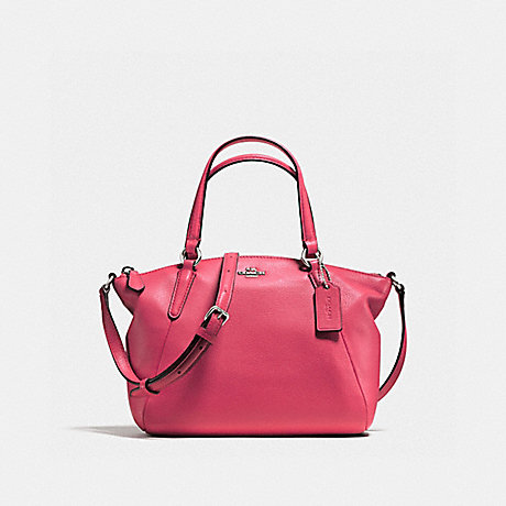 COACH f57563 MINI KELSEY SATCHEL IN PEBBLE LEATHER SILVER/STRAWBERRY