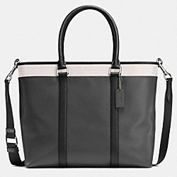 COACH PERRY BUSINESS TOTE IN COLORBLOCK LEATHER - GRAPHITE/BLACK/CHALK - F57568