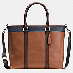 PERRY BUSINESS TOTE IN COLORBLOCK LEATHER - SADDLE/MAHAGONY/MIDNIGHT - COACH F57568