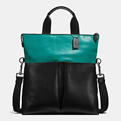 CHARLES FOLDOVER TOTE IN PERFORATED LEATHER - f57569 - SEAGREEN/BLACK