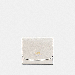 COACH SMALL WALLET IN CROSSGRAIN LEATHER - IMITATION GOLD/CHALK - F57584