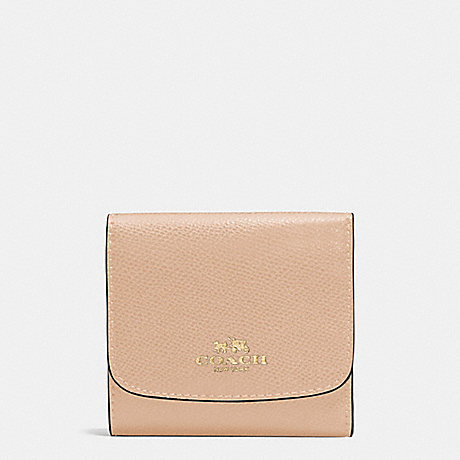 COACH SMALL WALLET IN CROSSGRAIN LEATHER - IMITATION GOLD/BEECHWOOD - f57584