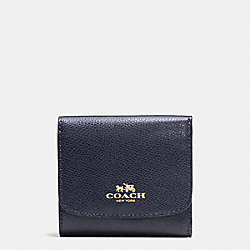 COACH SMALL WALLET IN CROSSGRAIN LEATHER - IMITATION GOLD/MIDNIGHT - F57584