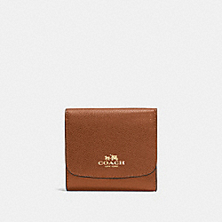 COACH SMALL WALLET IN CROSSGRAIN LEATHER - IMITATION GOLD/SADDLE - F57584