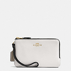 COACH DOUBLE CORNER ZIP WALLET IN COLORBLOCK LEATHER AND SIGNATURE - IMITATION GOLD/BROWN NEUTRAL MULTI - F57585