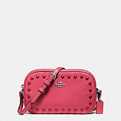 COACH CROSSBODY POUCH WITH ENAMEL STUDS - SILVER/STRAWBERRY - F57587