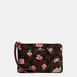 CORNER ZIP WRISTLET IN FLORAL LOGO PRINT COATED CANVAS - SILVER/BROWN RED MULTI - COACH F57588
