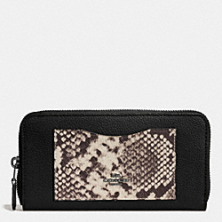 COACH ACCORDION ZIP WALLET WITH SNAKE EMBOSSED LEATHER TRIM - ANTIQUE NICKEL/BLACK MULTI - F57590