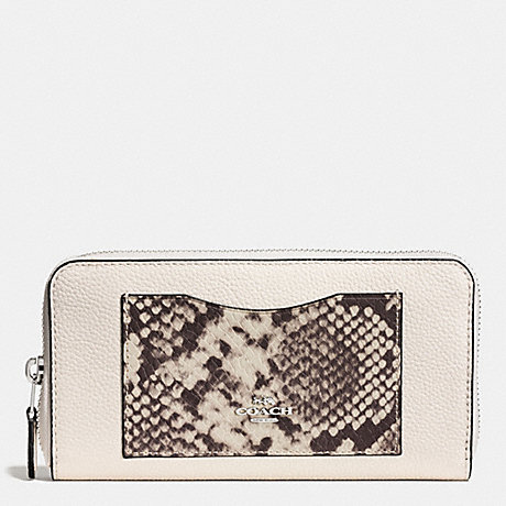 COACH f57590 ACCORDION ZIP WALLET WITH SNAKE EMBOSSED LEATHER TRIM SILVER/CHALK MULTI