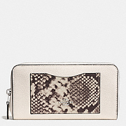 COACH ACCORDION ZIP WALLET WITH SNAKE EMBOSSED LEATHER TRIM - SILVER/CHALK MULTI - F57590