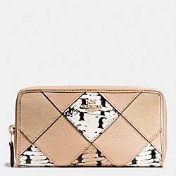 COACH ACCORDION ZIP WALLET WITH SNAKE EMBOSSED PATCHWORK - IMITATION GOLD/BEECHWOOD MULTI - F57591
