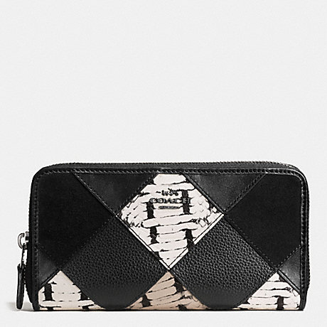 COACH ACCORDION ZIP WALLET WITH SNAKE EMBOSSED PATCHWORK - ANTIQUE NICKEL/BLACK MULTI - f57591