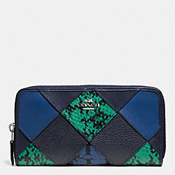 COACH ACCORDION ZIP WALLET WITH SNAKE EMBOSSED PATCHWORK - SILVER/MIDNIGHT MULTI - F57591