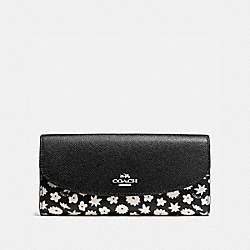 COACH SLIM ENVELOPE WALLET IN GRAPHIC FLORAL PRINT COATED CANVAS - SILVER/BLACK MULTI - F57593