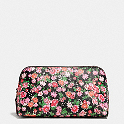 COACH COSMETIC CASE 17 IN POSEY CLUSTER FLORAL PRINT COATED CANVAS - SILVER/PINK MULTI - F57597