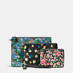 POUCH TRIO IN PRINTED COATED CANVAS - SILVER/MULTICOLOR - COACH F57598