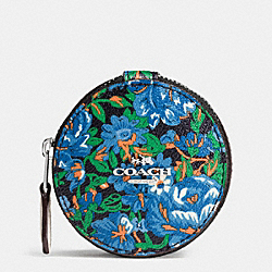COACH ROUND TRINKET BOX IN ROSE MEADOW FLORAL PRINT - SILVER/BLUE MULTI - F57599