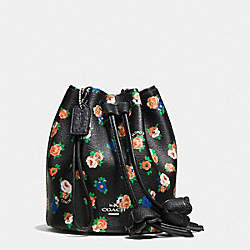 PETAL WRISTLET IN TEA ROSE PRINT COATED CANVAS - SILVER/BLACK MULTI - COACH F57601